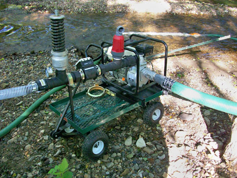 NRCS cost-share gas powered pump cart for surface water for Del Sur Farms